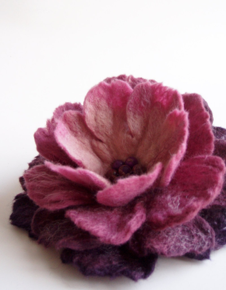 Purple Shades Flower Brooch, Hand Felted Jewelry. $26.00, via Etsy.