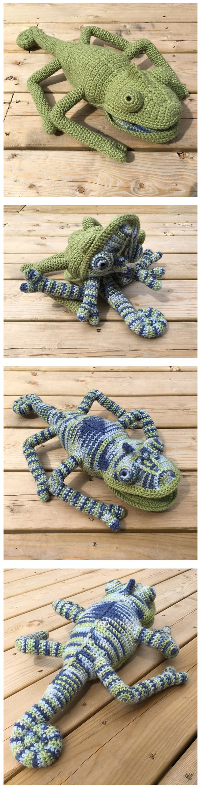 Crocheted transforming  chameleon by KylaRaay based on the pattern by Vanessa Monncie in the book Crocheted Wild Animals.