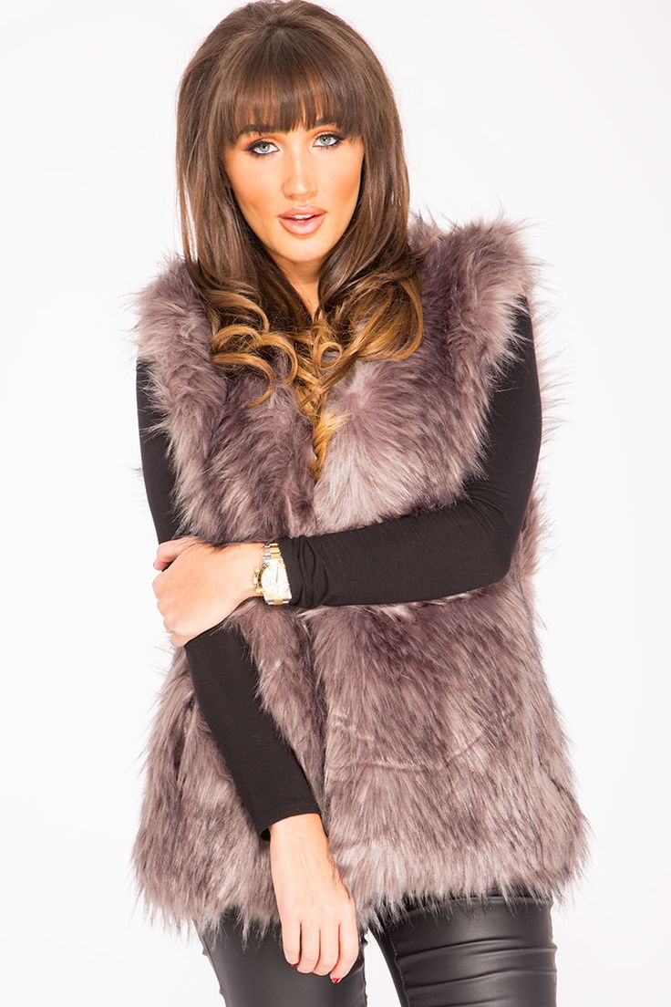 Megan Mckenna Grey Faux Fur Gilet