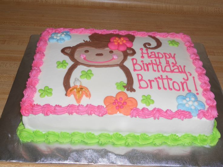 Britton's Birthday Cake - White chiffon cake with vanilla custard filling and buttercream frosting.  It was made with love for #2 granddaughter's second birthday. She likes monkeys!