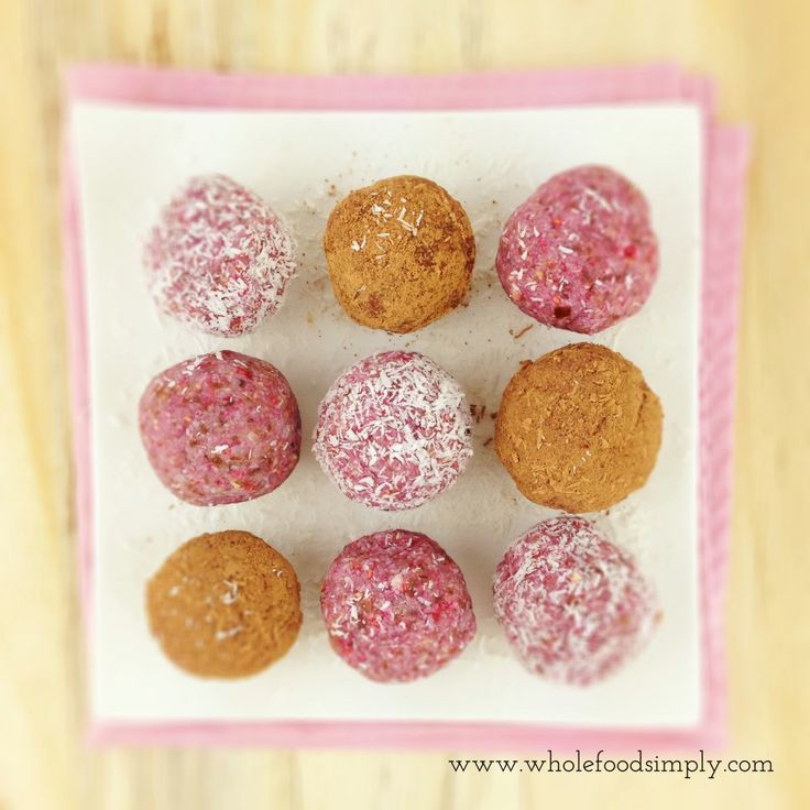 Quick, easy and truly delicious pretty little Raspberry Bites. Free from gluten, grains, dairy, egg and refined sugar. Enjoy.