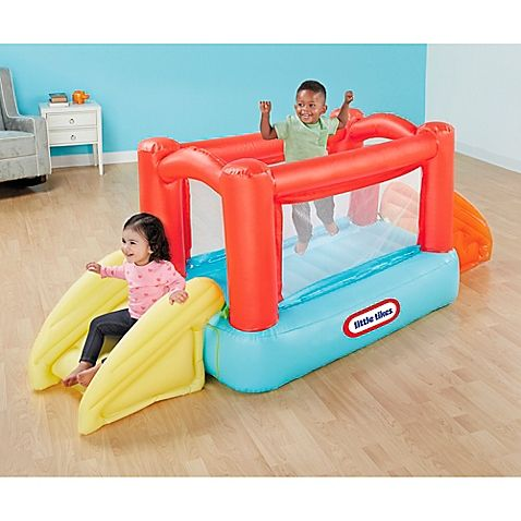 Up, up and away your little one will be with the My First Bouncer. This bouncer is perfect for little ones who are still wobbly on their feet. With the built-in blower, it's ready to go in seconds. Your little one will love the peek-a-boo tunnel.