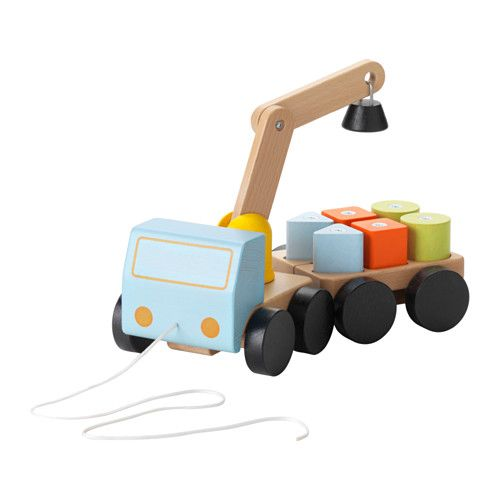 IKEA - MULA, Crane with blocks, , Moving blocks with a crane and pulling it around on a truck is so much fun. Playing this way helps build up dexterity, logical thinking and hand-eye coordination.Sturdy wooden construction that can handle tough drivers and many deliveries.Crane and blocks with magnets makes it easier to lift and load.The trailer can be uncoupled.The string at the front of the truck makes it easy to pull along.