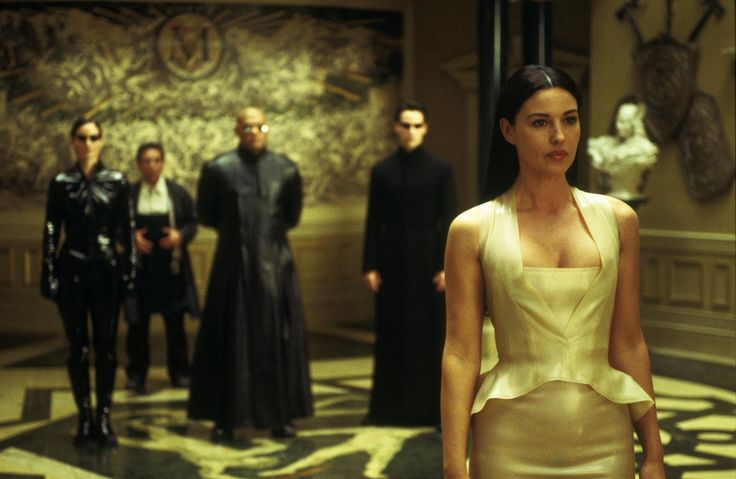 Still Of Keanu Reeves Laurence Fishburne Monica Bellucci Carrie Anne Moss And Randall Duk Kim In The Matrix Reloaded