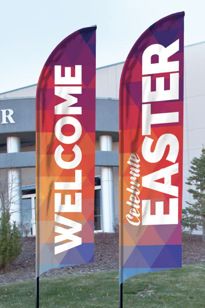 Geometric Bold Easter Banner Outreach In 2020 Church Banners Church Design Exterior Signage