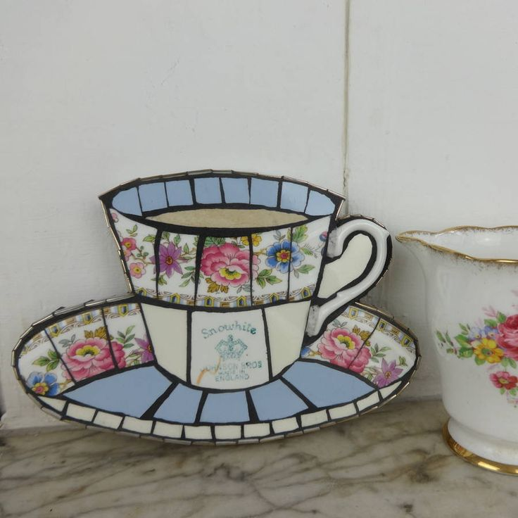 vintage teacup mosaic bluebell rose by anna tilson ...