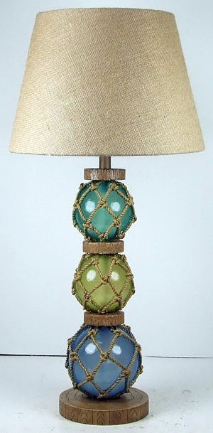 Coastal Glass Float Lamp   Ocean Styles.  I love the colors of the glass, would go perfect in my living room.  Now to convince my wife to buy them.