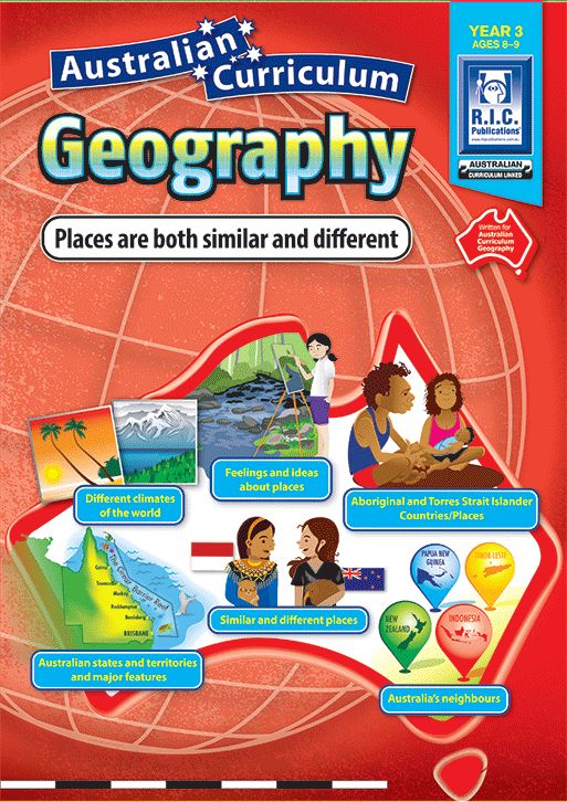 Australian Curriculum Geography Year 3: Places are both similar and different. Different climates of the world, feelings and ideas about places, Aboriginal and Torres Strait Islander Countries/Places, Similar and Different Places, Australia's Neighbors, Australian States and Territory.