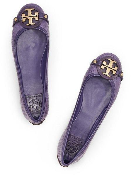 Tory Burch purple snakeskin ballet flats