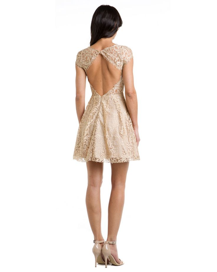 ABS by Allen Schwartz Beige Lace Open Back Dress From the back.