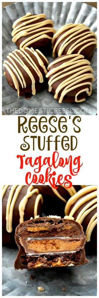 These Reese's Stuffed Tagalong Cookies are such an easy and impressive dessert! No-bake, takes minutes to make, and is ultra peanut buttery and chocolaty! My new go-to cookie recipe!