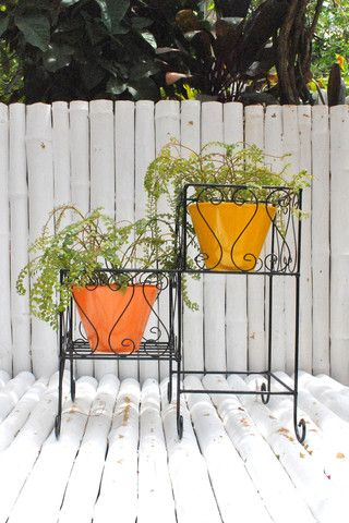 Wrought Iron two-tiered planter stand with metal filler pots – The mysunnybalcony e-store