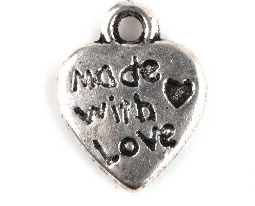 50-100-250-500-Pcs-MADE-WITH-LOVE-Tibetan-Silver-Charms-Pendants-Crafts-Jewelry