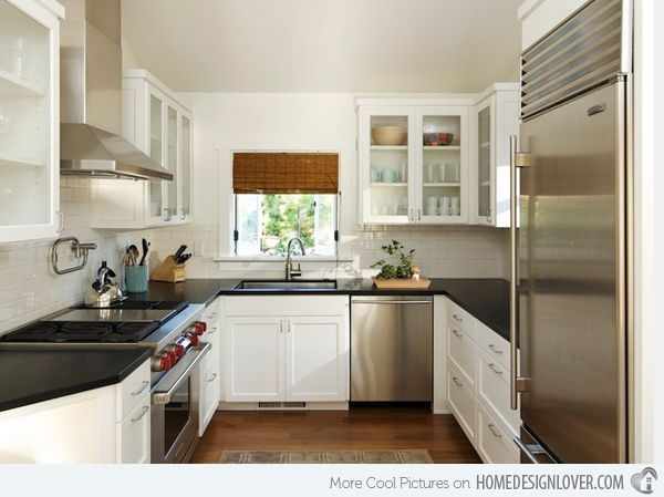 17 Beautiful Contemporary U-Shaped Kitchen Layouts | Home Design Lover Love the cabinets!