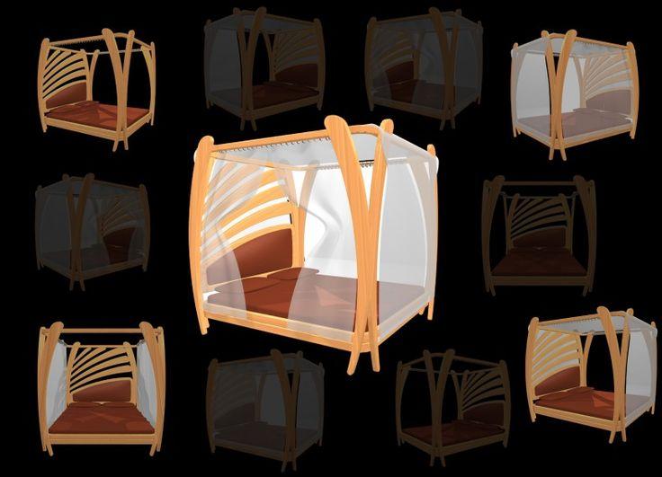 Quartetto d'archi è un sinuoso baldacchino che si sviluppa intorno ai suoi caratteristici montanti arcuati che, fissati ad angolo retto, sostengono il sommier inferiore, che ospita la rete e il telaio superiore che sorregge il cielo in tessuto oltre ad essere punto di appoggio per i bastoni delle tende laterali