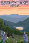 Seeley Lake, Montana - Bear & Spring Flowers - Lantern Press Artwork
