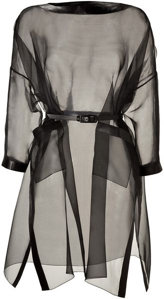 VALENTINO Black Silk Organza Belted Dress with Leather Trim - Lyst