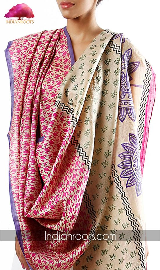 Tussar silk dupatta by Charkohl on Indianroots.com