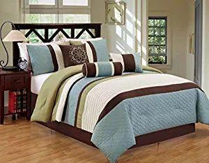 JBFF Bed in Bag Microfiber Luxury Comforter Set, King, Sage/Coffee, 7 Piece