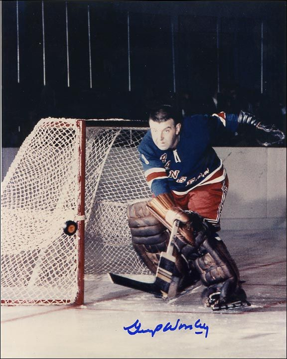 Lorne(Gump) Worsley played for the New York Rangers back in the day when goaltenders did not wear masks.