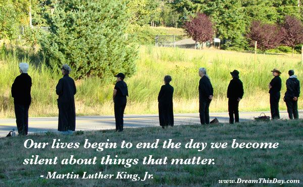 """""""Our lives begin to end the day we become silent about things that matter."""" -- Martin Luther King, Jr."""