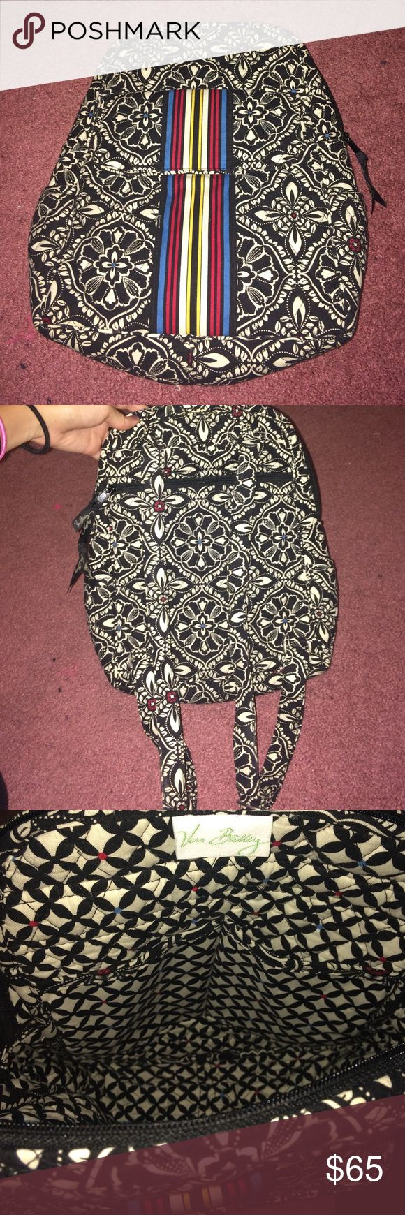 Vera Bradley bag Black and white backpack with red, blue, and yellow accents. Never been put to use other than once but really cute! Vera Bradley Bags