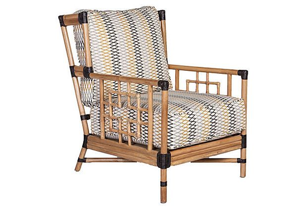 Capetown Accent Chair, Multi/Natural on OneKingsLane.com Just the thing you'd expect to see in an oceanfront bungalow, this accent chair is made of rattan with wrapped joints and generously filled cushioning upholstered in patterned cotton.