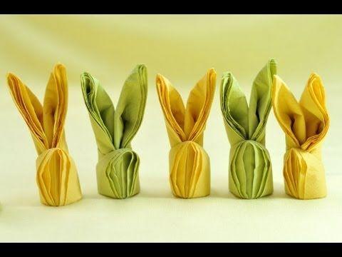 How To Make Easter Bunny Napkins - YouTube