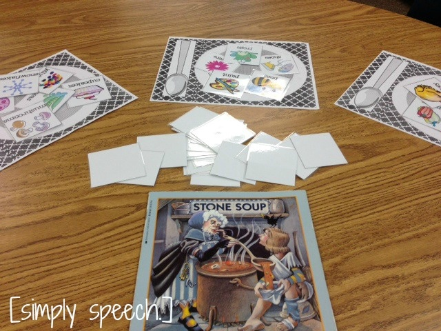 Stone Soup: Place various ingredients, including some not in the story, and allow students to tell what they would put in their stone soup.