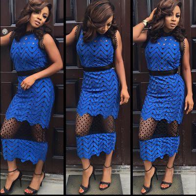 Koko Level's Blog:Breaking News In-depth In Nigeria: vlogger,Toke Makinwa rocks beautiful blue lace dre...