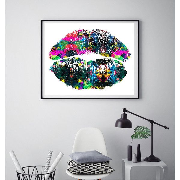 Large lips print, Beauty print, Colorful lips, Beauty saloon decor,... ($8) ❤ liked on Polyvore featuring beauty products, makeup, lip makeup and lipstick