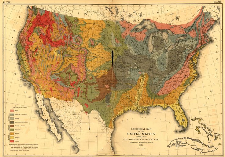 Geological Map of the United States - 1824Usa 1872, Posters Prints, Vintage Maps, 1872 Prints, Census Maps, Geology Maps, United States, Maps Of Usa, 1870