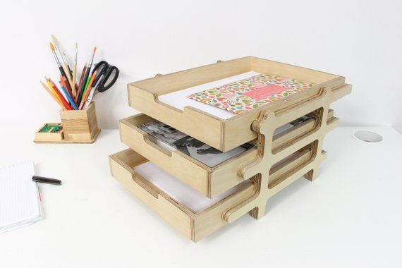 Desk Organizer Desk Tray Paper Tray Wood Desk Tray Wood Tray
