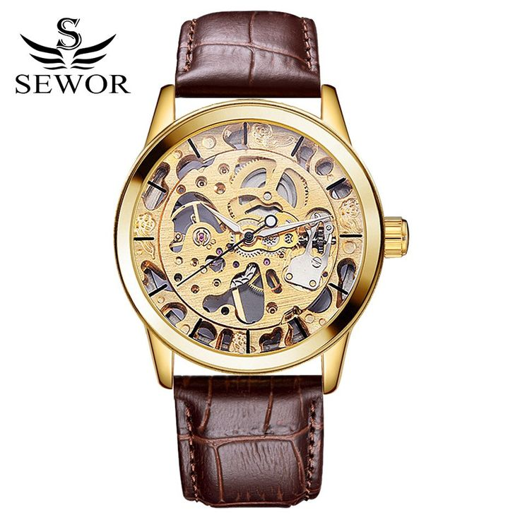 Sewor Brand Watches Men Steampunk Skeleton Mechanical Watches PU Leather Wristwatches Men Dress Watch Classics Gold Watch XR1002
