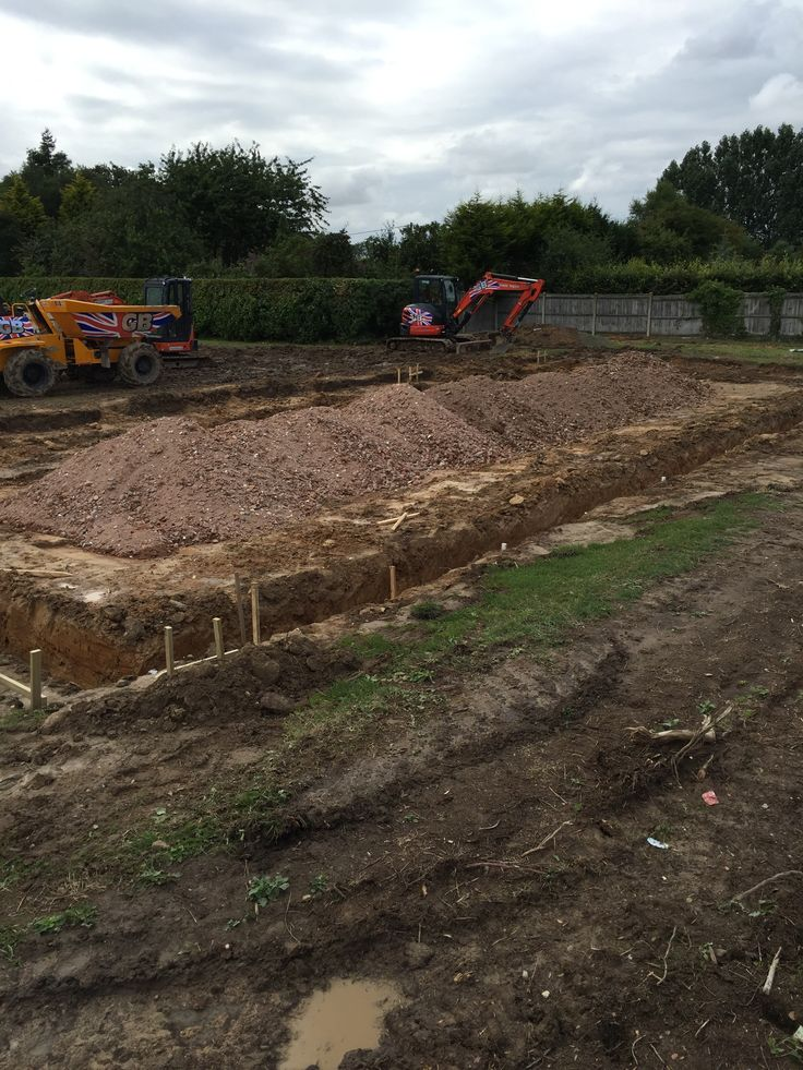 Day 4 - trenches dug , pegged out waiting for concrete - its taking shape - excited as its now becoming real .