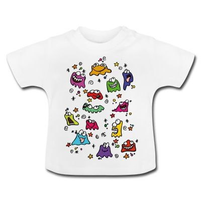 Camiseta de manga corta para bebés, 100% algodón de cultivo biológico. En el hombro izquierdo se encuentran botones automáticos hechos sin níquel para ampliar la abertura y que el vestir y desvestir al bebé se haga más fácil.  #spreadshirt #mycshopspreadshirt #babytshirt #camisetabebe #fashionbaby #cute #nice #beautiful #style #babystyle #modabebe #piruleta #lolipop #sweet #dulce #adorable #bonito #lovely  #fashionkids #monstruos #monsters #colours