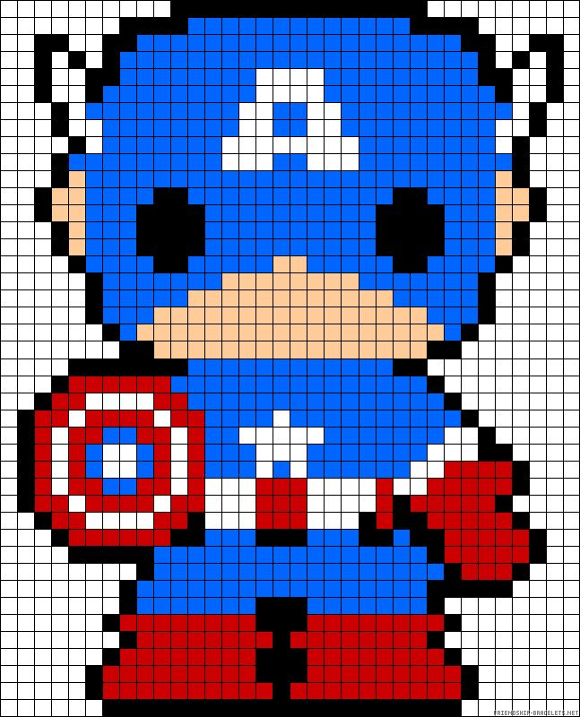 Captain America perler bead pattern  Would work for a cross-stitch pattern.