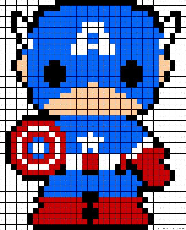 Patron Capitan America pixel ganchillo