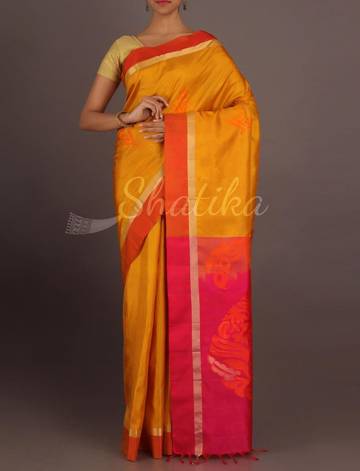 Niveda Mustard And Pink Paisley Pallu Pure #PattuSilkSaree