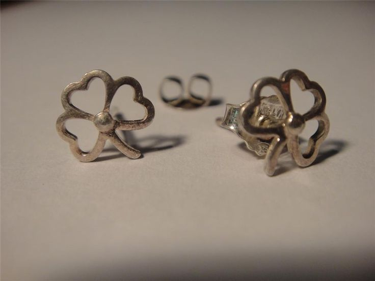 Expires 29th July #STERLING #SILVER 925 earrings #shamrock elegant stamped Irish clover hearts dainty