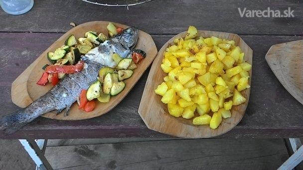 Pstruhy s grilovanou zeleninou