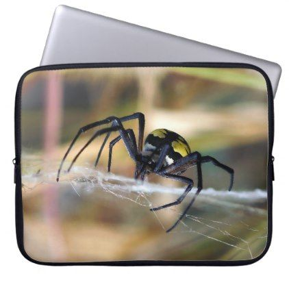 #Black & Yellow Argiope Garden Spider Laptop Sleeve - #halloween #party #stuff #allhalloween All Hallows' Eve All Saints' Eve #Kids & #Adaults