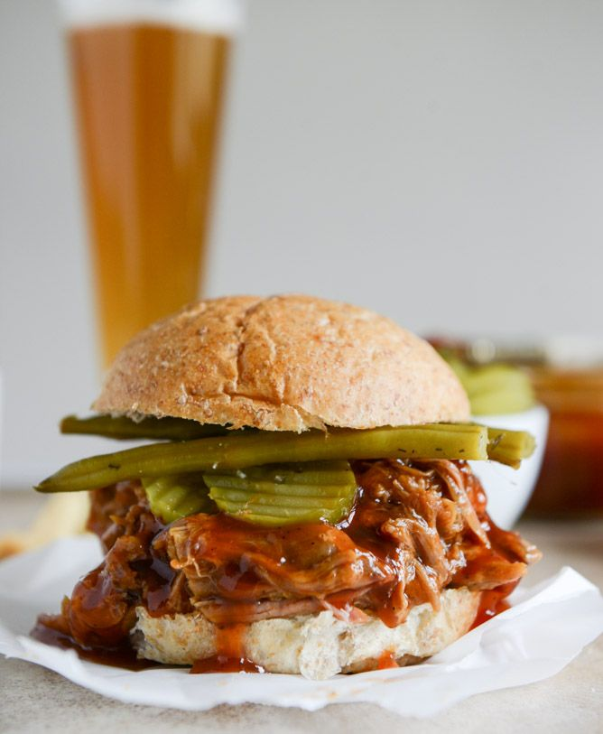 Mmm  saucy pulled pork sandwiches.