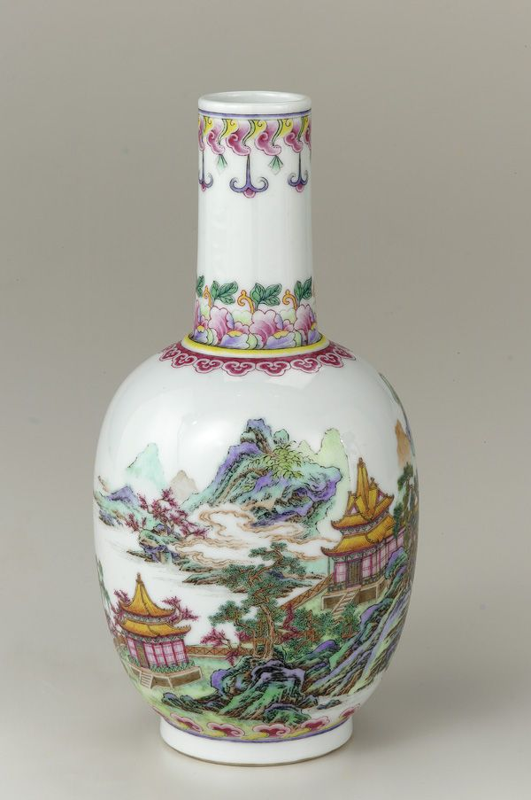 Vase 1736-1795 Qing dynasty Qianlong reign Porcelain with clear glaze and overglaze enamels H: 19.6 W: 9.8 cm Jingdezhen, China. Qianlong was the sixth emperor of the Manchu-led Qing Dynasty, and the fourth Qing emperor to rule over China proper. The fourth son of the Yongzheng Emperor, Qianlong reigned from 11 October 1735 to 8 February 1796.