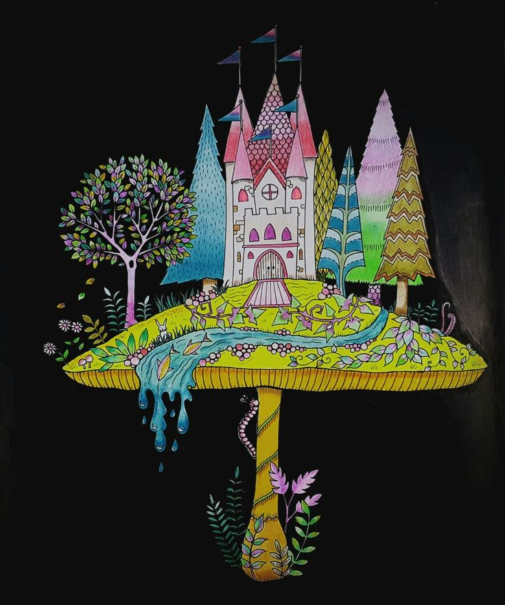 enchanted forest Johanna Basford adult coloring book mushrooms