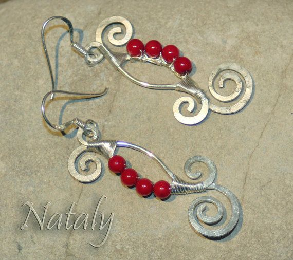 Long Dangle Forged Sterling Silver Earrings with Red Coral Beads