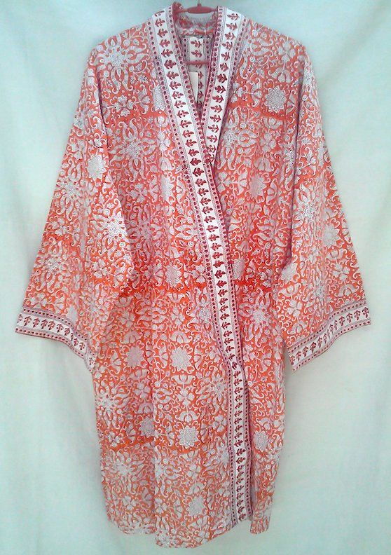 Boho Chic Anokhi Coral Orange Floral Lotus Hand block print Cotton Kimono robe Dressing gown