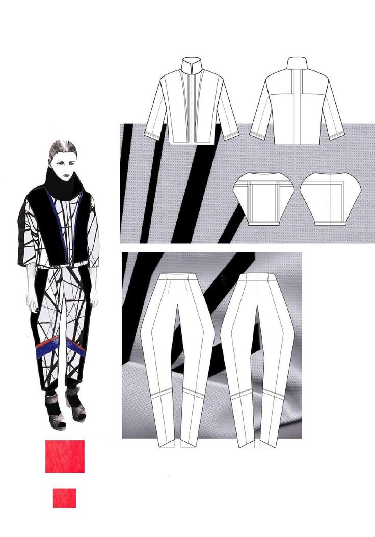 Fashion Sketchbook - geometric fashion design; fashion drawings; fashion portfolio // Gina Atkinson