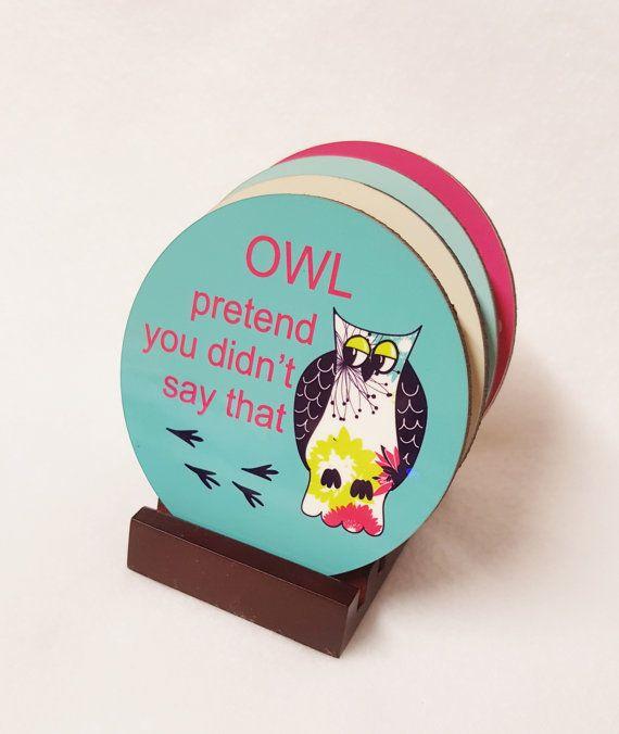 OWL COASTER SET  Owl Coaster  Gift for Owl by ThreeDamesDreamin