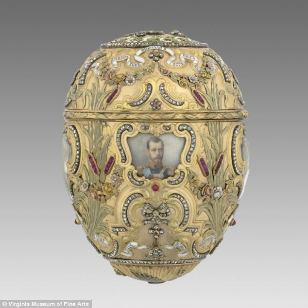 : A Faberge egg decorated with a portrait of Peter the Great was given by Tsar Nicholas II to his wife, made by Mikhail Perkhin in 1903